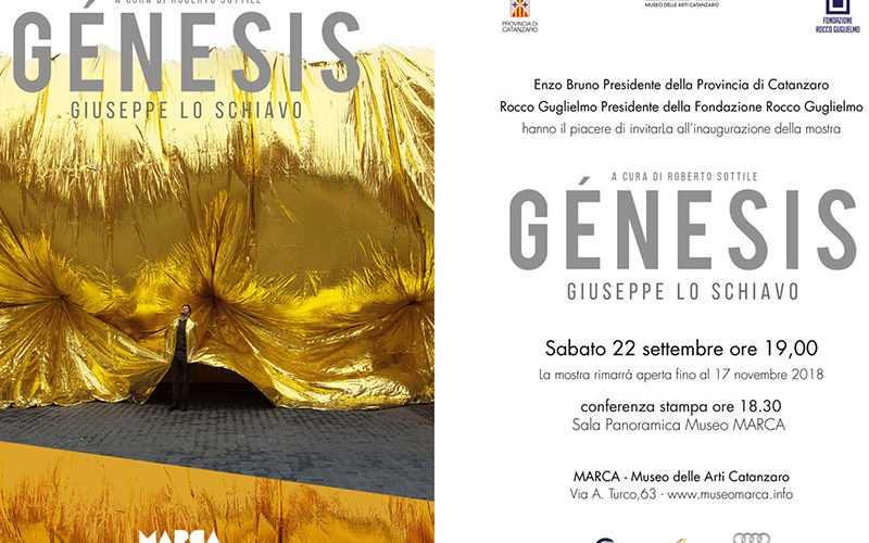 Génesisdi Giuseppe Lo Schiavo a cura di Roberto Sottile: dal 22 settembre al 17 novembre 2018 al Marca Museo delle Arti di Catanzaro.