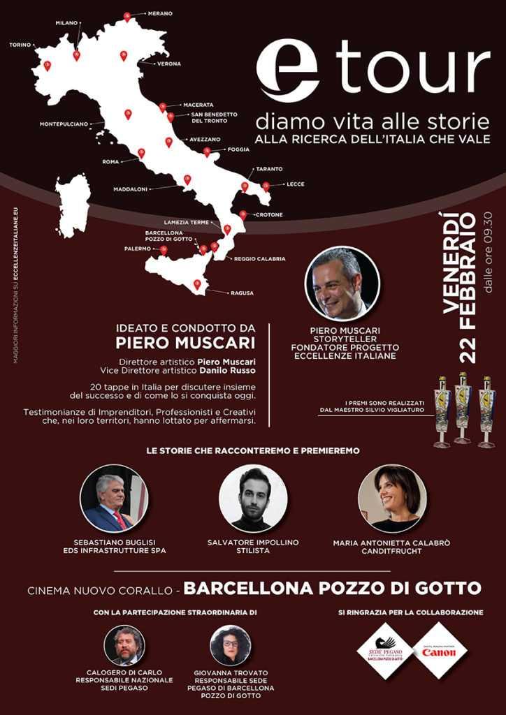 ETOUR BARCELLONA POZZO DI GOTTO LOCANDINA A3 Eccellenze Italiane