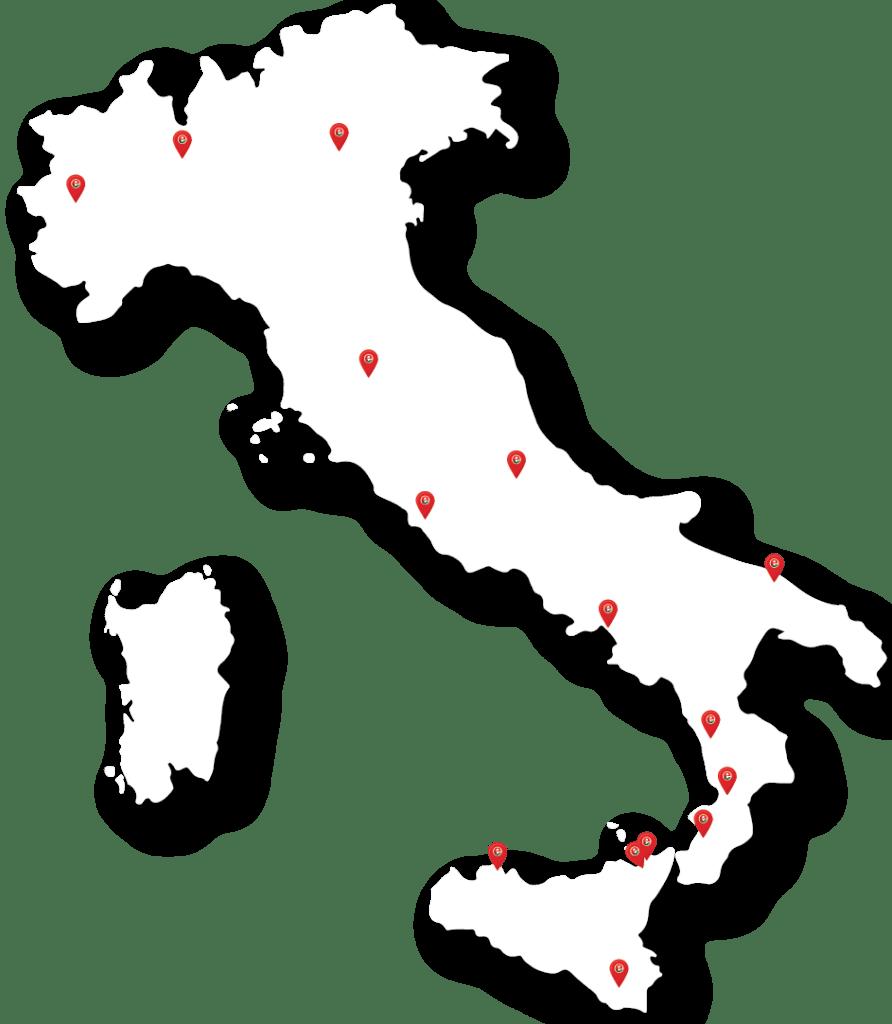 mappa italia con tappe senza città 01 Eccellenze Italiane